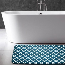 Geometric Printed Flannel Memory Foam Bath Mat With Antislip Backing
