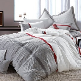 Tally Embroidered Cotton Duvet Cover 3pcs Set