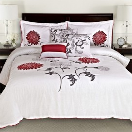 Antonia 6pc Embroidered Cotton Comforter Set