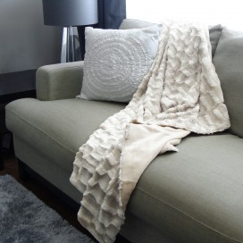 Textured Fur Throw With Lining 50 x 60 Inch