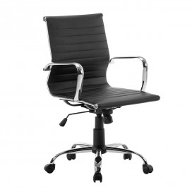 Leather Office Chair Ergonomic Desk Chair, Mid Back Black.