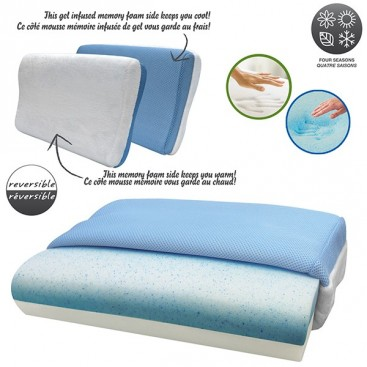 Reversible Memory Foam With Cooling Blue Gel Pillow