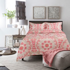Medallion 3pc Microfiber Printed Comforter Set