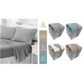 Al - Solid Microfleece Sheet Set In Foldable Storage Box