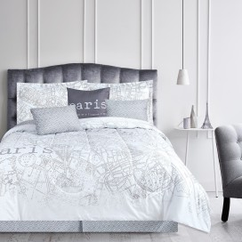 Lt, Paris Map 7 Pieces Comforter Set, Chloe Collection