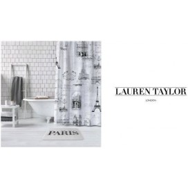"Lt - Paris Shower Curtain 72x72"" Black-white"