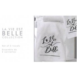 "Lt -la Vie Est Belle Set Of 2 Towels [16x20""] White"