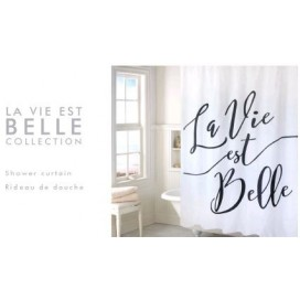"Lt - La Vie Est Belle Shower Curtain 70x72"" White"