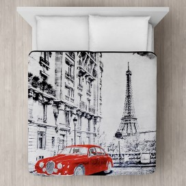 Red Car In Paris Micro Mink Blanket Black-white