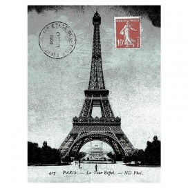 Eiffel Tower Micro Mink Blanket Grey-red
