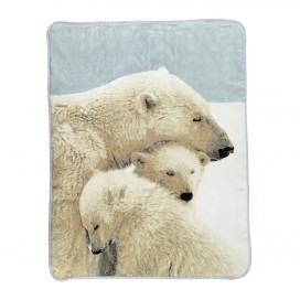 Polar Bears Novelty Micro Mink Throw