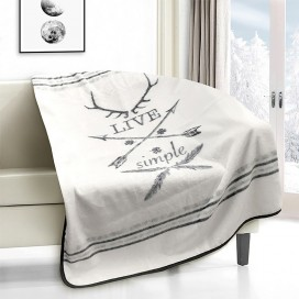 Live Simple Novelty Micro Mink Throw White-grey
