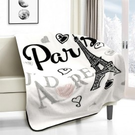 Paris, J'adore Novelty Micro Mink Throw Black-white