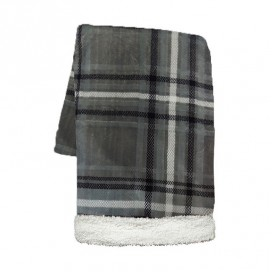 Lt - Rustic Cabin Lucas Plaid Printed Super Soft Throw Grey