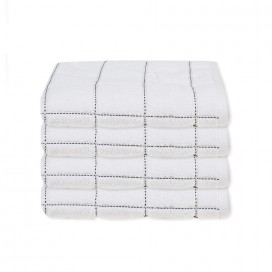 Lt Midnight Blue Collection, Check Towels [hand Set Of 4]