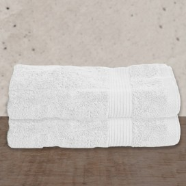 "Wh - Bamboo Deluxe Bath Extra Long Towels Set Of 2[35x64""]"