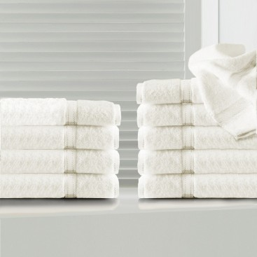 """Sv - Solid Color Bamboo Face Towels Set Of 10 [13x13""""]"""