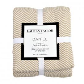 Lt - Daniel Chevron Woven Cotton Blanket