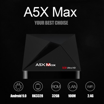 New 2019 - A5X MAX RK3328 4K HD TV Box 4GB / 32GB Smart Media Player for Android 9.0, Kodi 18.1