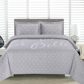 Al - La Vie Est Belle Printed Duvet Cover Set Grey King