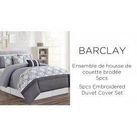 Lt - Barclay 5pcs Duvet Cover Set Grey Queen