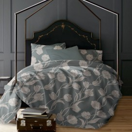 Lt - Juliette Tulips 3pc Printed Mf Duvet Cover Set Slate King