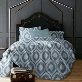 Lt - Romeo Geo 3pc Printed Mf Duvet Cover Set Denim King