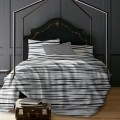 Lt - Romeo Stripe 3pc Printed Mf Duvet Cover Set Grey Queen