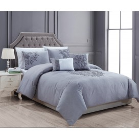 Lt Signature - Taj 5pc Duvet Cover Set Grey Queen