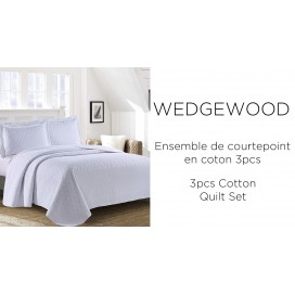 LT - Wedgewood 3pcs Cotton Quilt Set White Full-Queen