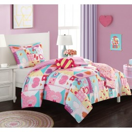 5pcs Candy Twin Comforter Set Pink Candy Twin