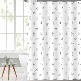 Lauren Taylor - Doggy Shower Curtain Taupe 70x72 ""