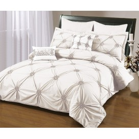 Ruched 6 Pcs Embroidered Duvet Cover Set