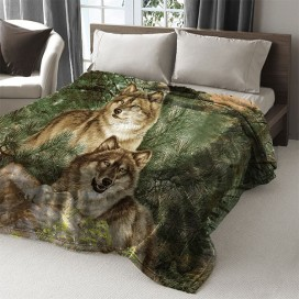 Autumn Wolf Printed Mink Blanket 79 X 94 In