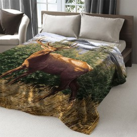 Deer Printed Mink Blanket 79 X 94 In