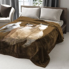 Horses Printed Mink Blanket 79 X 94 In