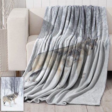 Two Wolves Micromink Throw 50x60 In