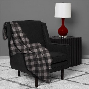 London Collection-printed Plaid Microfleece Blanket 60 X 80 In